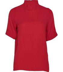 top w. pleated high neck blouses short-sleeved röd coster copenhagen