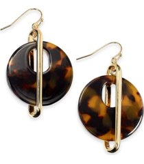 alfani gold-tone & tortoise-look circle drop earrings, created for macy's