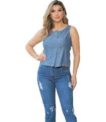 regata jeans leve liocel com fenda frontal - azul - feminino - dafiti