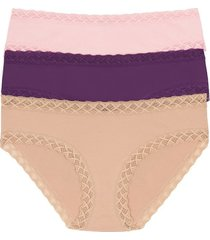 natori bliss girl brief 3 pack panty underwear intimates, women's, pink, microfiber, size xxl natori