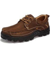 scarpe casual da uomo resistenti all'usura antiscivolo in pelle di mucca