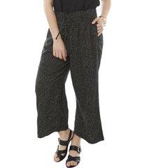pantalón culotte print negro mujer corona