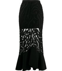 david koma sheer fishtail-hem skirt - black