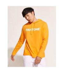camiseta masculina pantone com capuz manga longa laranja