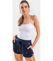 women's liz embroidered star lounge shorts in navy by francesca's - size: s
