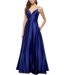 betsy & adam satin v-neck ball gown