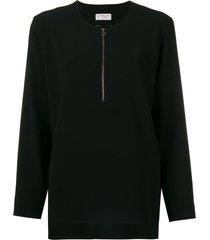 alberto biani zip front flared blouse - black