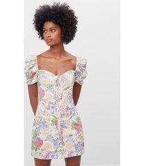 jurk met bloemenprint en knopen