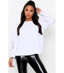 denim panel sleeve sweater, white