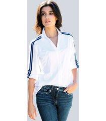 blouse alba moda wit::blauw