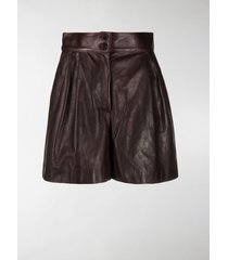 dolce & gabbana pleated leather shorts