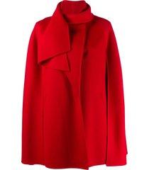 valentino draped collar cape - red