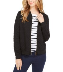 charter club textured knit bomber jacket, created for macy's