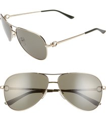 men's salvatore ferragamo gancio 62mm aviator sunglasses - shiny yellow gold