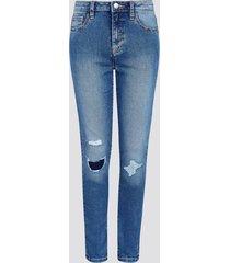 skinny jeans i bomull - blå
