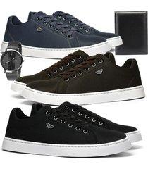 kit sapatãªnis casual leve rebento preto marrom e azul + relã³gio e carteira - azul marinho/preto - masculino - lona - dafiti