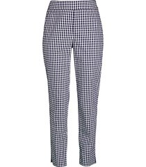 tapered stretch gingham pants