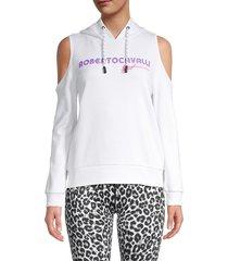 roberto cavalli women's logo cold-shoulder cotton hoodie - white - size m