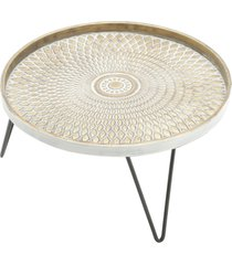 bandeja redonda, centro de mesa redondo com pã© - metal - carisma - bege - dafiti