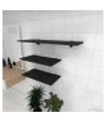 kit 3 prateleiras banheiro em mdf suporte tucano preto 2 60x30cm 1 90x30cm modelo pratbnp15
