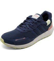 tenis lifestyle azul-rosa-blanco adidas performance retro run