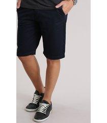 bermuda de sarja masculina reta azul marinho