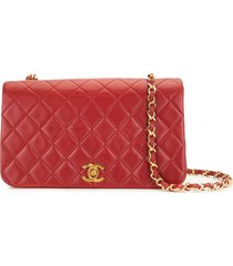 chanel pre-owned 1990 full flap shoulder bag - red