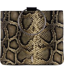 thacker python embossed leather pouch - beige