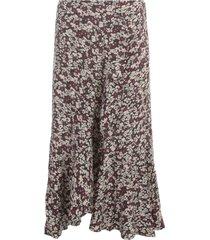 ganni printed crepe straight skirt