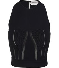 alexander mcqueen black sleeveless top with ribbed work