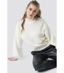na-kd trend big sleeve knitted sweater - white