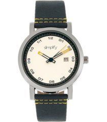 simplify quartz the 5300 white dial, genuine blue leather watch 40mm