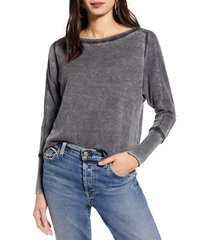 women's treasure & bond thermal knit shirttail hem long sleeve tee, size small - black