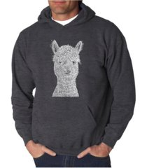 la pop art men's alpaca word art hooded sweatshirt