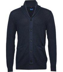 d1. h ycomb shawl cardigan gebreide trui cardigan blauw gant