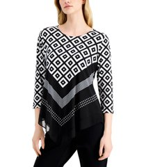 alfani plus size printed pointed-hem knit top, created for macy's