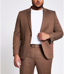 river island mens big and tall brown skinny fit suit jacket