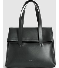 reiss carter - leather fold over tote bag in forest green, mens