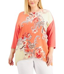 jm collection plus size nadia printed drop-shoulder top, created for macy's