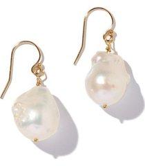 baroque pearl gold drop earrings