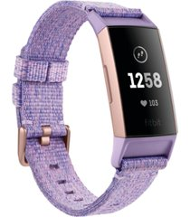 fitbit charge 3 interchangeable lavender/rose gold-tone fabric & black elastomer strap smart watch 22.7mm - a special edition
