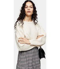 neutral pleated shoulder cropped sweater - neutral