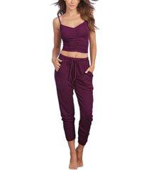 dreamgirl women's soft rib-knit jersey 2-piece camisole and jogger pants pajama set