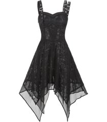 asymmetrical lace buckle grommet strap handkerchief lace up dress