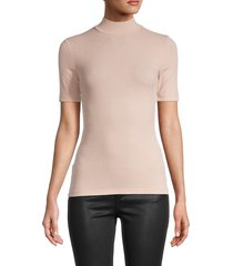 bcbgmaxazria women's mockneck short-sleeve top - pink - size m