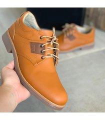 zapato oxford casual cuadro  - mostaza