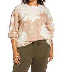 plus size women's treasure & bond bleached sweatshirt, size 2x - brown