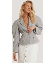 na-kd classic gathered short blazer - grey