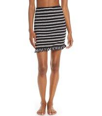 women's luli fama stripe ruffle hem cover-up tube skirt