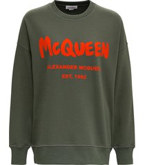 alexander mcqueen green cotton sweatshirt with logo print